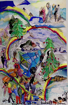 Mixed Media - Rainbows And Christmas Trees by Barb Greene Mann