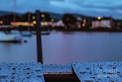 Photograph - Raindrops On Metal Bench 5 by Marc Daly
