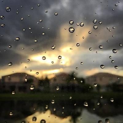 Raindrops Photograph - Raindrops On Window At Sunset by Juan Silva