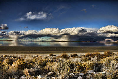 Rainfall Over The Salt Lake Art Print by Douglas Barnard