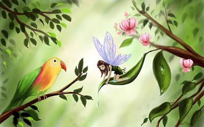 Lovebird Digital Art - Rainforest Fairy  by Susan  Rossell