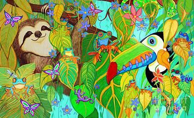 Salamanders Digital Art - Rainforest Friends by Nick Gustafson