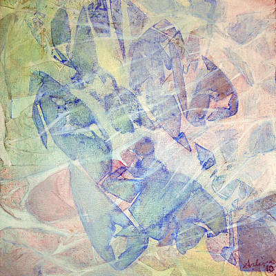 Abstract Leaves Painting - Rainforest Morning Mist by Arlissa Vaughn