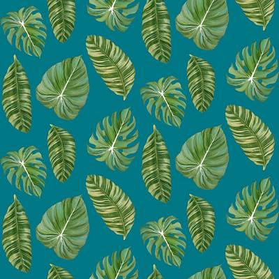 Rainforest Resort - Tropical Leaves Elephant's Ear Philodendron Banana Leaf Print by Audrey Jeanne Roberts