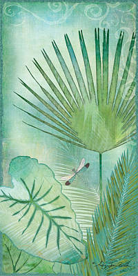 Painting - Rainforest Tropical - Elephant Ear And Fan Palm Leaves W Botanical Dragonfly by Audrey Jeanne Roberts