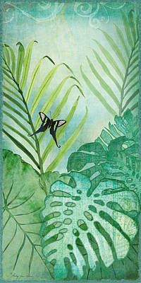 Leaf Green Painting - Rainforest Tropical - Philodendron Elephant Ear And Palm Leaves W Botanical Butterfly by Audrey Jeanne Roberts