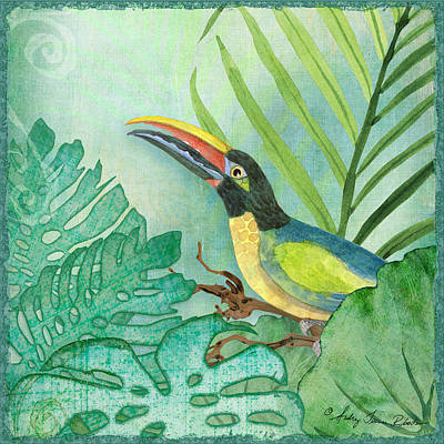 Tropical Leaves Painting - Rainforest Tropical - Jungle Toucan W Philodendron Elephant Ear And Palm Leaves 2 by Audrey Jeanne Roberts