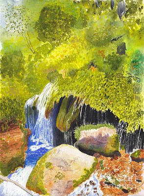 Painting - Rainforest Waterfall Watercolor And Acrylic by Conni Schaftenaar