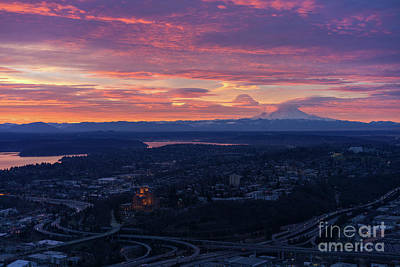 Photograph - Rainier And Seattle Sunrise Cloudscape by Mike Reid