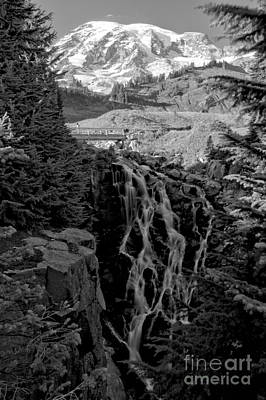Photograph - Rainier Myrtle Falls - Black And White by Adam Jewell