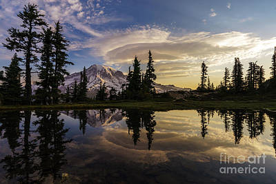 Lenticular Photograph - Rainier Sunrise Reflection #3 by Mike Reid