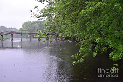 Shot Heard Round The World Photograph - Raining Afternoon Along The Concord River by Leslie M Browning