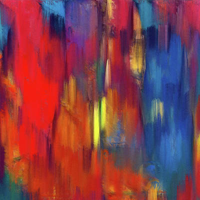 Mixed Media - Raining Colors Abstract by Georgiana Romanovna