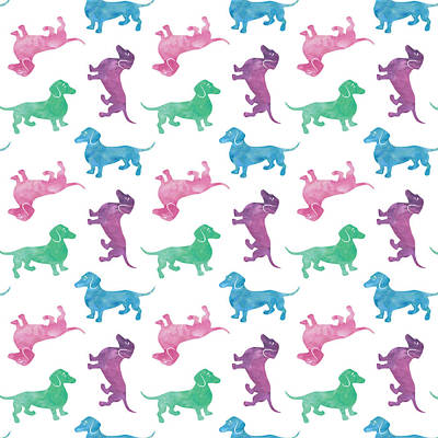 Pattern Digital Art - Raining Dachshunds by Antique Images