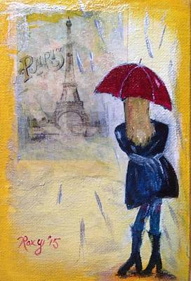 Red Painting - Raining In Paris by Roxy Rich
