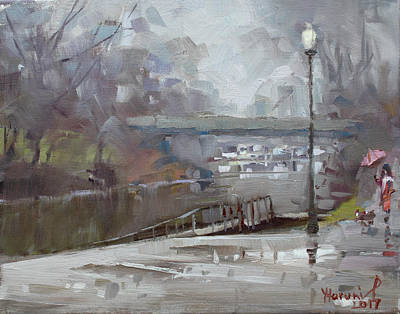 Town Painting - Raining In Tonawanda Canal by Ylli Haruni