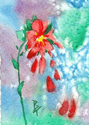 Painting - Raining Petals Aceo by Brenda Thour