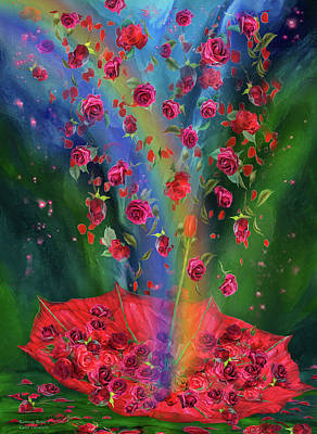 Umbrellas Mixed Media - Raining Roses 2 by Carol Cavalaris