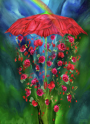 Umbrellas Mixed Media - Raining Roses by Carol Cavalaris