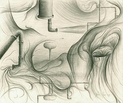 Drawing - Rainless Farm by Michael Morgan