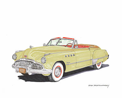 Painting - Rainman Buick Roadmaster by Jack Pumphrey