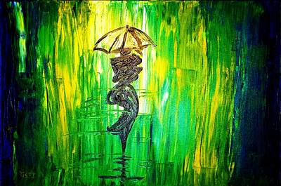 Art Print featuring the painting Rainning Green by Piety Dsilva
