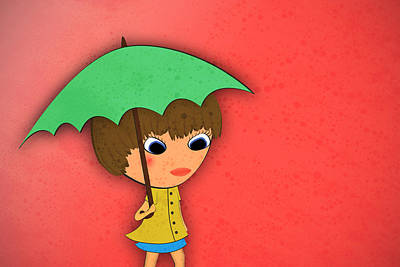 Cute Cartoon Digital Art - Rainy by Abbey Hughes