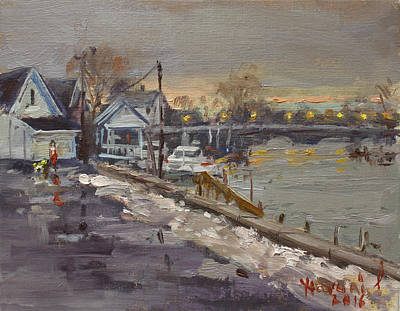 Rainy And Snowy Evening By Niagara River Art Print by Ylli Haruni