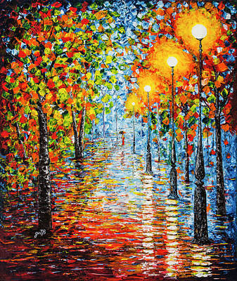Art Print featuring the painting Rainy Autumn Evening In The Park Acrylic Palette Knife Painting by Georgeta Blanaru