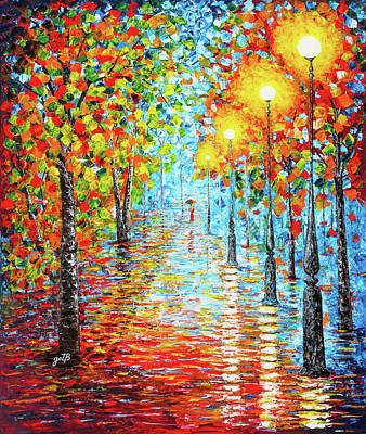 Art Print featuring the painting Rainy Autumn Evening In The Park Acylic Palette Knife Painting by Georgeta Blanaru