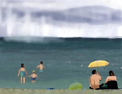 Rainy Beach Art Print by Arline Wagner