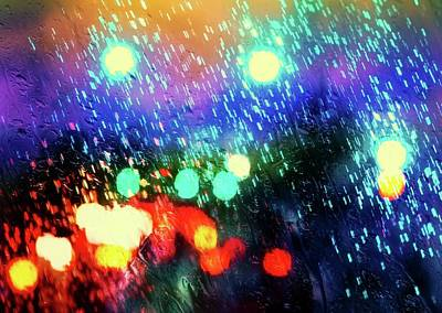 Mixed Media - Rainy City Lights by Lilia D