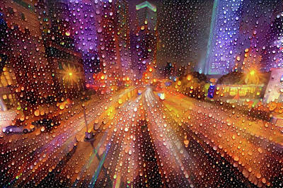 Mixed Media - Rainy City by Lilia D
