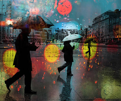 Photograph - Rainy City Scene by Mal Bray