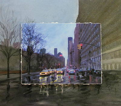Urban Landscape Mixed Media - Rainy City Street Layered by Anita Burgermeister