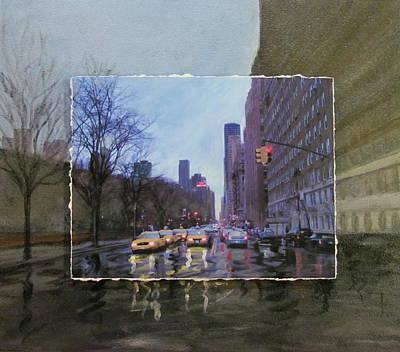 City Scenes Mixed Media - Rainy City Street layered by Anita Burgermeister