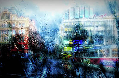 Mixed Media - Rainy City Streets by Lilia D