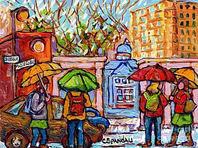 Painting - Rainy Day At Mcgill Campus Roddick Gates Painting Canadian University Scene C Spandau Montreal Art   by Carole Spandau