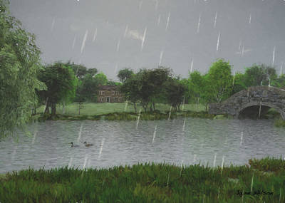 Art Print featuring the digital art Rainy Day At The Lake by Jayne Wilson