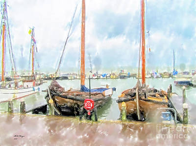 Mixed Media - Rainy Day At The Yacht Club by Bill And Deb Hayes