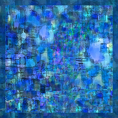 Mixed Media - Rainy Day Blue Abstract by Michele Avanti
