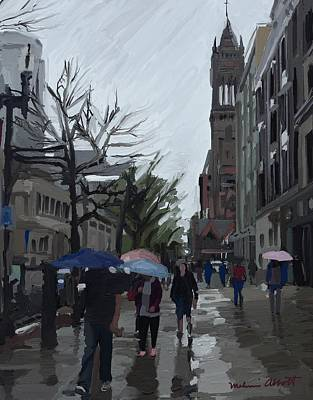 Painting - Rainy Day, Boylston St., Boston, Ma. by Melissa Abbott