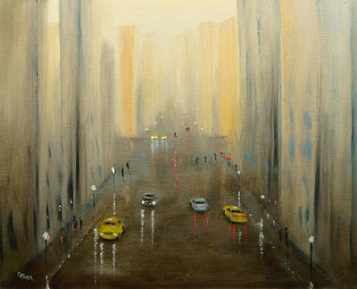Painting - Rainy Day Cityscape by Chris Fraser