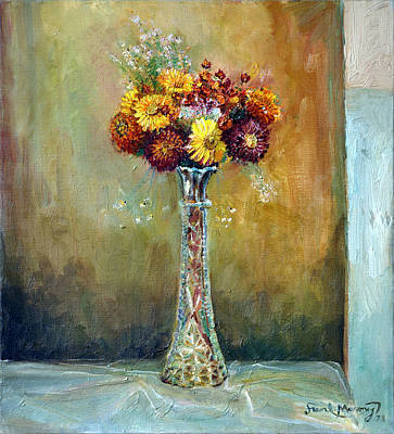 Angels Breath Painting - Rainy Day Flowers by Frank Maroney