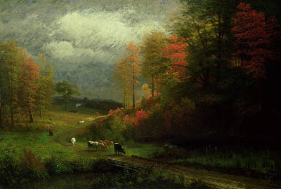 New England Fall Painting - Rainy Day In Autumn by Albert Bierstadt