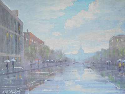 Painting - Rainy Day In D C by Len Stomski