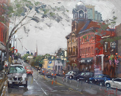 Downtown Wall Art - Painting - Rainy Day In Downtown Brampton On by Ylli Haruni