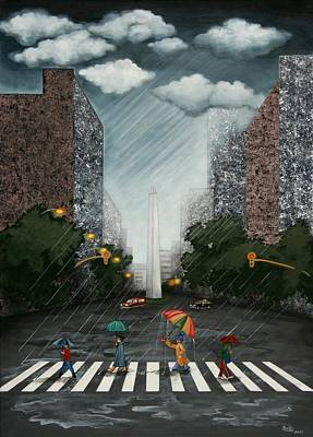 Rainy Day In Downtown Art Print