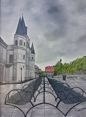 Cloudy Day Painting - Rainy Day In Jackson Square by Judy Jones