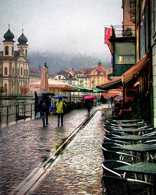 Print featuring the photograph Rainy Day In Lucerne by Jim Hill